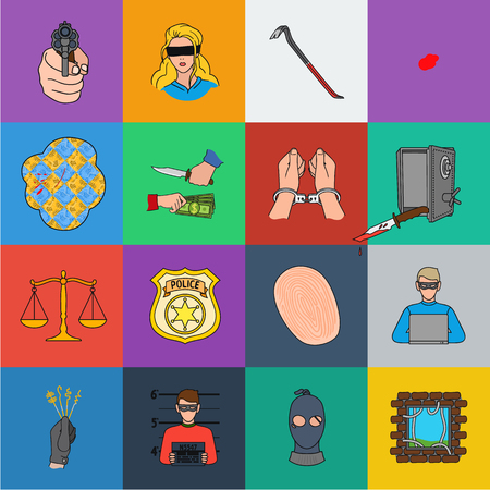 Crime and Punishment cartoon icons in set collection for design.Criminal vector symbol stock  illustration.