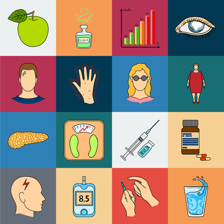 Diabetes cartoon icons in set collection for design. Treatment of diabetes vector symbol stock  illustration.