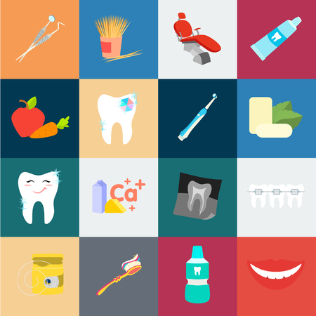 Dental care cartoon icons in set collection for design. Care of teeth vector symbol stock illustration.