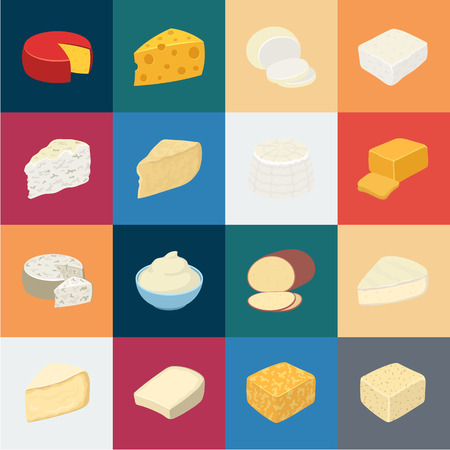 Different kind of cheese cartoon icons in set collection for design.Milk product cheese vector symbol stock  illustration. 向量圖像
