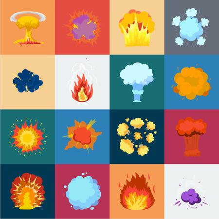 Diferentes explosiones, dibujos animados, iconos de colección set de diseño. Flash y llama vector símbolo stock de ilustración. Ilustración de vector