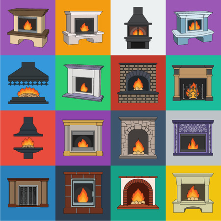 Different kinds of fireplaces cartoon icons in set collection for design.Fireplaces construction vector symbol stock  illustration. Ilustração