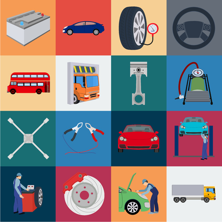 Coche, ascensor, bomba y otros equipos, dibujos animados, iconos de colección set de diseño. Ilustración de stock de símbolo de vector de estación de mantenimiento de coche.