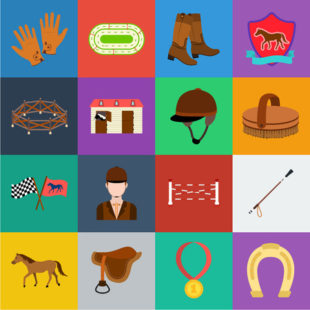 Hippodrome and horse cartoon icons in set collection for design. Horse Racing and Equipment vector symbol stock  illustration. Ilustração