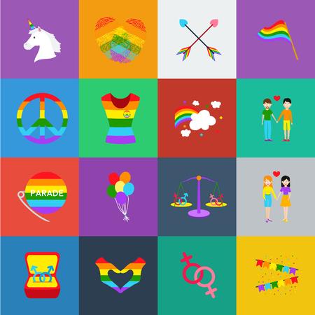 Gay and cartoon icons in set collection for design.Sexual minority and attributes vector symbol stock illustration. Ilustración de vector