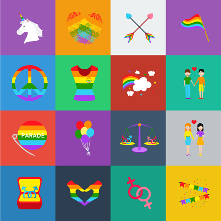 Gay and lesbian cartoon icons in set collection for design.Sexual minority and attributes vector symbol stock  illustration. Illusztráció