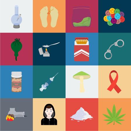 Atributos y adicción a las drogas, dibujos animados, iconos de colección set de diseño. Ilustración de stock de símbolo de vector de adicto y drogas.