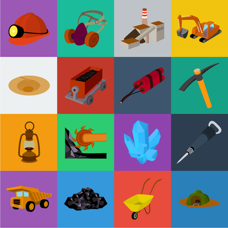 Mining industry cartoon icons in set collection for design. Equipment and tools vector symbol stock web illustration.