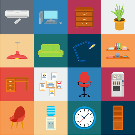Interior of the workplace cartoon icons in set collection for design. Office furniture vector symbol stock web illustration. 矢量图像