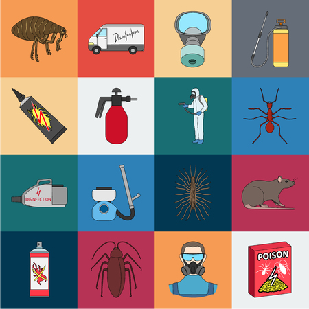 Pest, poison, personnel and equipment cartoon icons in set collection for design. Pest control service vector symbol stock web illustration.