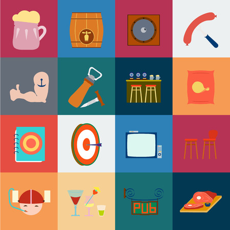 Pub, interior and equipment cartoon icons in set collection for design. Alcohol and food vector symbol stock web illustration.
