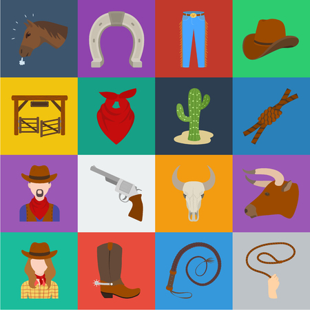 Rodeo, competition cartoon icons in set collection for design. Cowboy and equipment vector symbol stock web illustration. 向量圖像