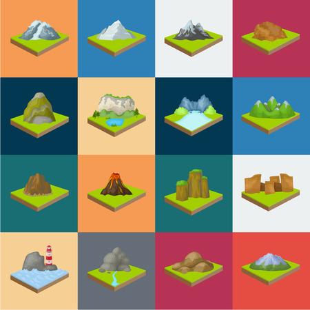 Montañas, iconos de dibujos animados masivos en conjunto para el diseño. La superficie de la tierra vector símbolo isométrico stock web ilustración.
