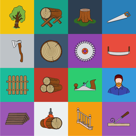 Sawmill and Timber cartoon icons in set collection for design. Hardware and Tools vector symbol stock web illustration. Ilustrace