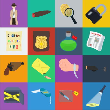 Detective agency cartoon icons in set collection for design. Crime and investigation vector symbol stock web illustration.