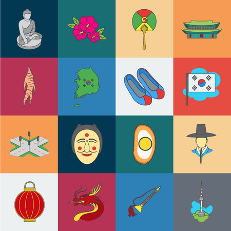 Country South Korea cartoon icons in set collection for design.Travel and attraction vector symbol stock web illustration.