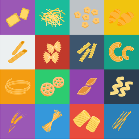 Arten von Nudelkarikaturikonen in der Satzsammlung für Design. Figürliche Makkaroni zum Essen der Vektorsymbolvorrat-Netzillustration.
