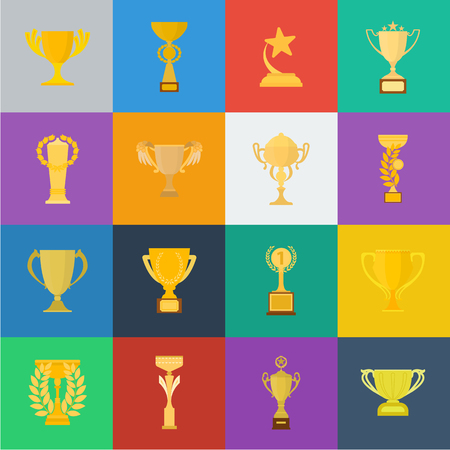 Gold Cup cartoon icons in set collection for design. Winners Cup vector symbol stock web illustration. Vettoriali