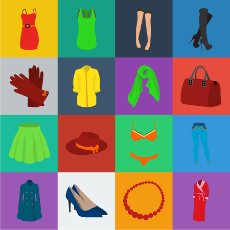 Womens Clothing cartoon icons in set collection for design.Clothing Varieties and Accessories vector symbol stock web illustration.