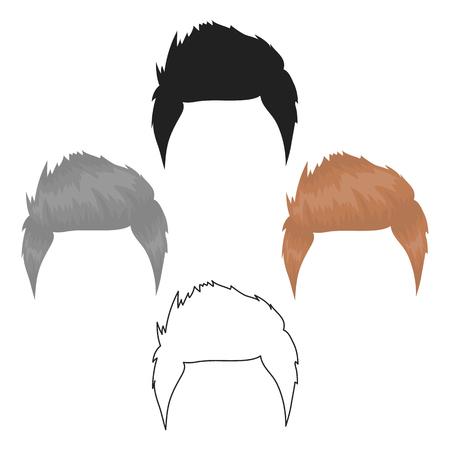 Mans hairstyle icon in cartoon style isolated on white background. Beard symbol stock vector illustration. Ilustração