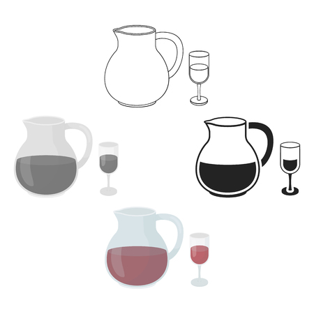 Sangria icon in cartoon style isolated on white background. Alcohol symbol stock vector illustration. Illustration