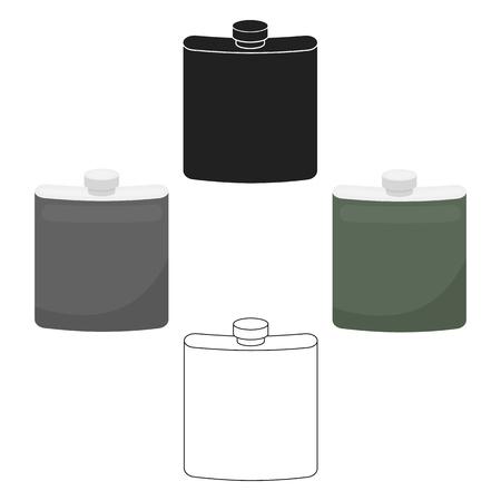 Heupfles pictogram in cartoon stijl geïsoleerd op een witte achtergrond. Jacht symbool voorraad vectorillustratie. Vector Illustratie