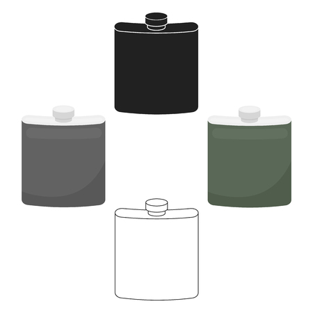 Hip flask icon in cartoon style isolated on white background. Hunting symbol stock vector illustration.