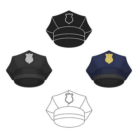 Police cap icon in cartoon style isolated on white background. Hats symbol stock vector illustration. Illustration