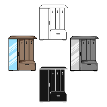 Vestibule wardrobe icon in cartoon style isolated on white background. Furniture and home interior symbol stock vector illustration.