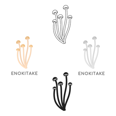 Enokitake icon in cartoon style isolated on white background. Mushroom symbol stock vector illustration.