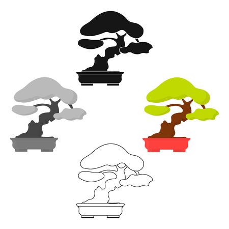 Bonsai icon in cartoon style isolated on white background. Japan symbol stock vector illustration. Vektorové ilustrace