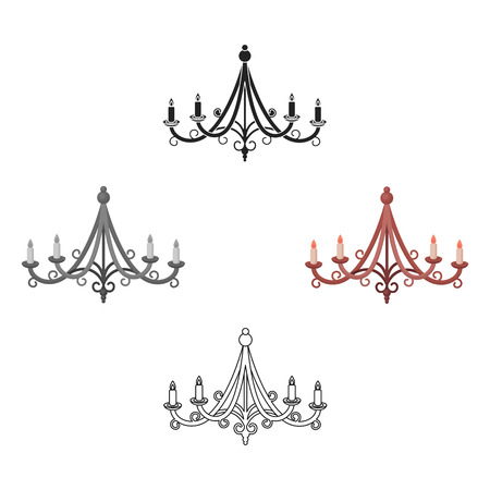Chandelier icon in cartoon style isolated on white background. Light source symbol stock vector illustration 矢量图像
