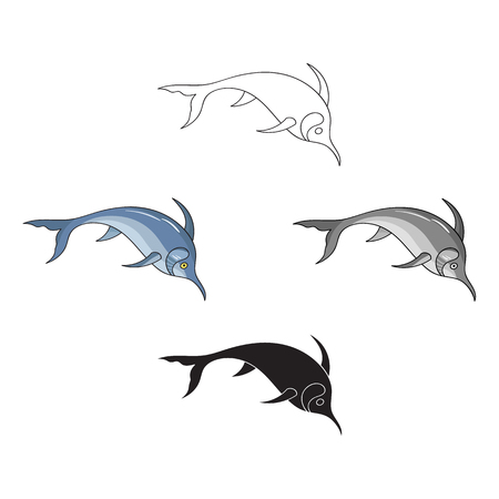 Marlin fish icon in cartoon style isolated on white background. Sea animals symbol stock vector illustration.