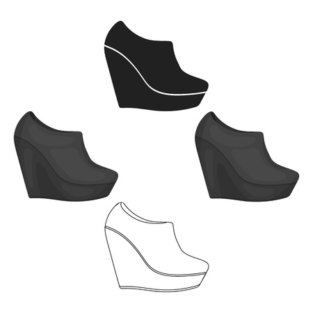 Wedge booties icon in cartoon style isolated on white background. Shoes symbol stock vector illustration.