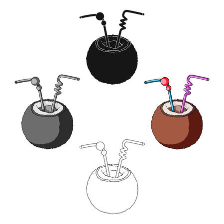 A cocktail in coconut with tubes.Summer rest single icon in cartoon style vector symbol stock illustration. 向量圖像