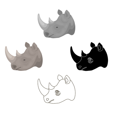 Rhinoceros icon in cartoon style isolated on white background. Realistic animals symbol stock vector illustration.