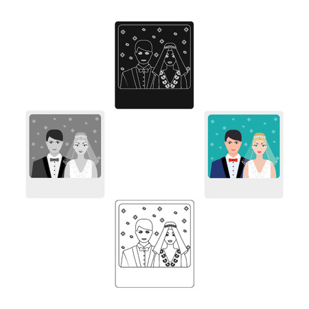 A picture of the bride and groom sees on the wall.Wedding single icon in cartoon style vector symbol stock illustration.