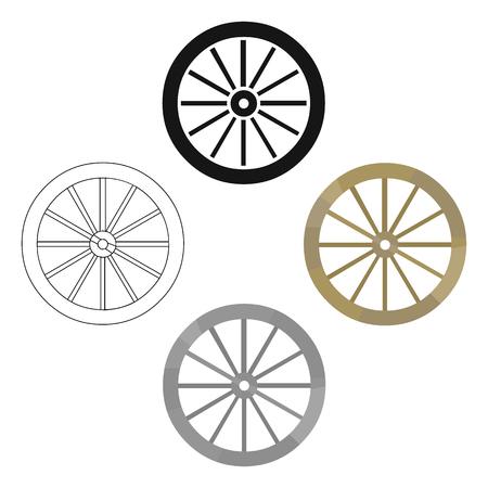 Cart-wheel icon cartoon. Singe western icon from the wild west cartoon.