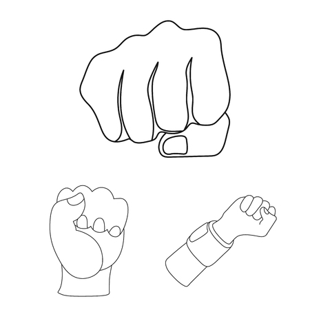 Vector design of fist and punch sign. Set of fist and hand stock symbol for web. Ilustrace