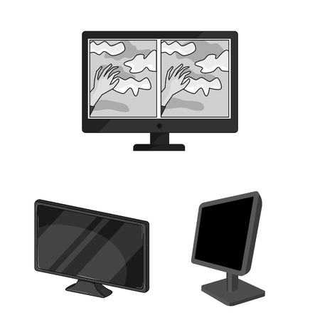 Vector illustration of screen and computer sign. Set of screen and mockup stock symbol for web.