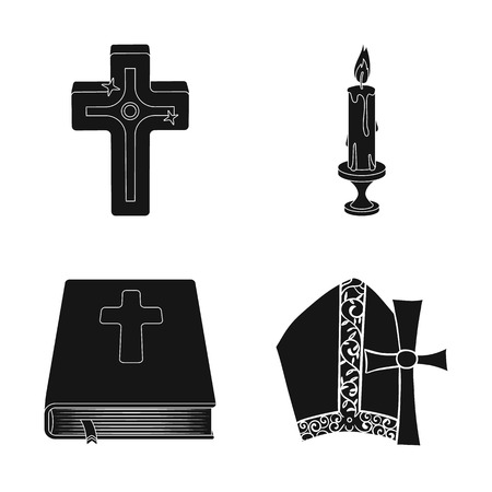Vector illustration of muslim and items sign. Collection of muslim and candle stock vector illustration.