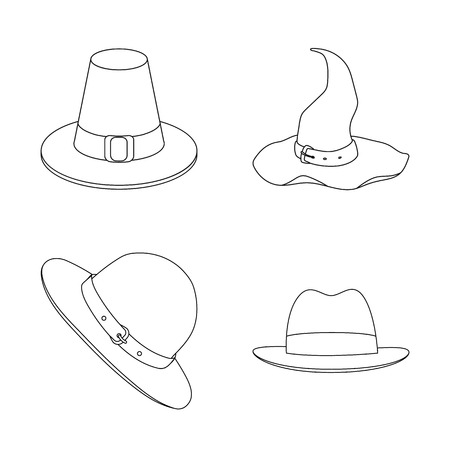 Vector design of hat and cap logo. Set of hat and model stock symbol for web.