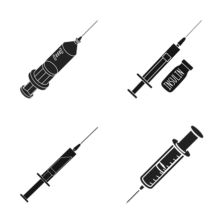 Isolated object of vaccine and syringe icon. Set of vaccine and antibiotic stock symbol for web.