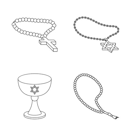 Vector illustration of muslim and items logo. Collection of muslim and candle stock vector illustration. Logo