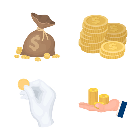 Vector design of coin and treasure sign. Collection of coin and money  stock vector illustration.