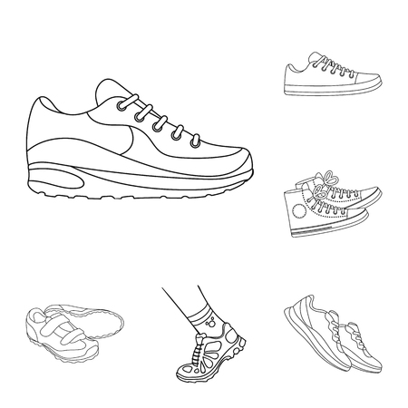 Vector design of shoe and sport logo. Collection of shoe and fitness stock vector illustration. Illusztráció