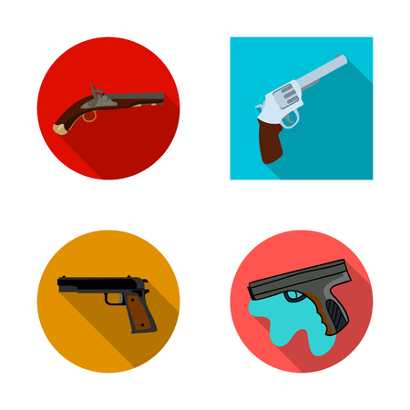 Isolated object of revolver and pistol sign. Set of revolver and trigger stock symbol for web.