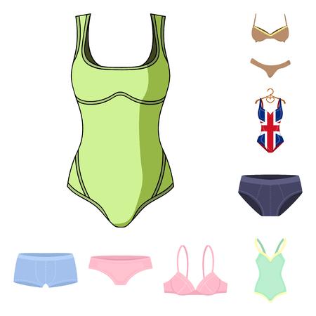 Vector illustration of bikini and fashion sign. Set of bikini and swimsuit vector icon for stock. Illusztráció