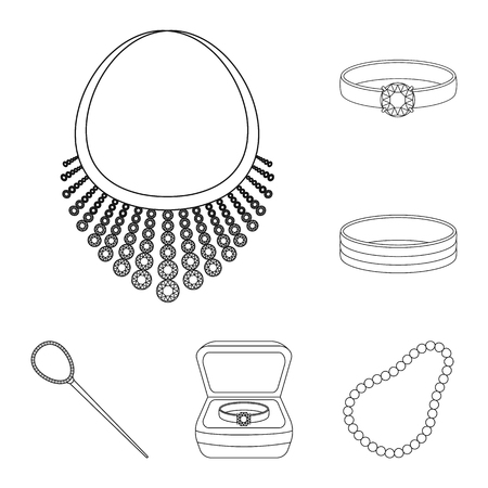 Isolated object of jewelery and necklace icon. Collection of jewelery and pendent vector icon for stock. Vettoriali