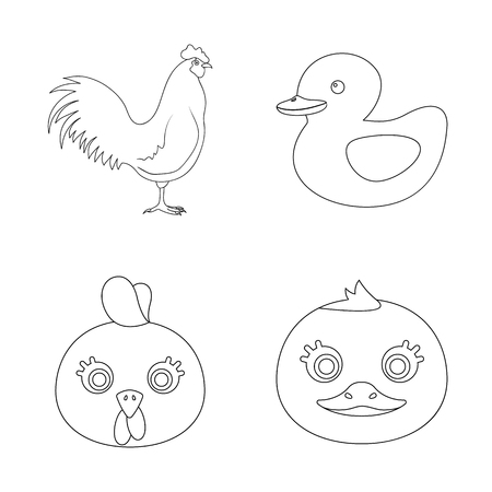 Vector design of funny and poultry sign. Collection of funny and farming stock symbol for web.